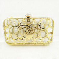 High-end gold metal frame made clutch for ladies 17*10cm flower pattern China gongdong