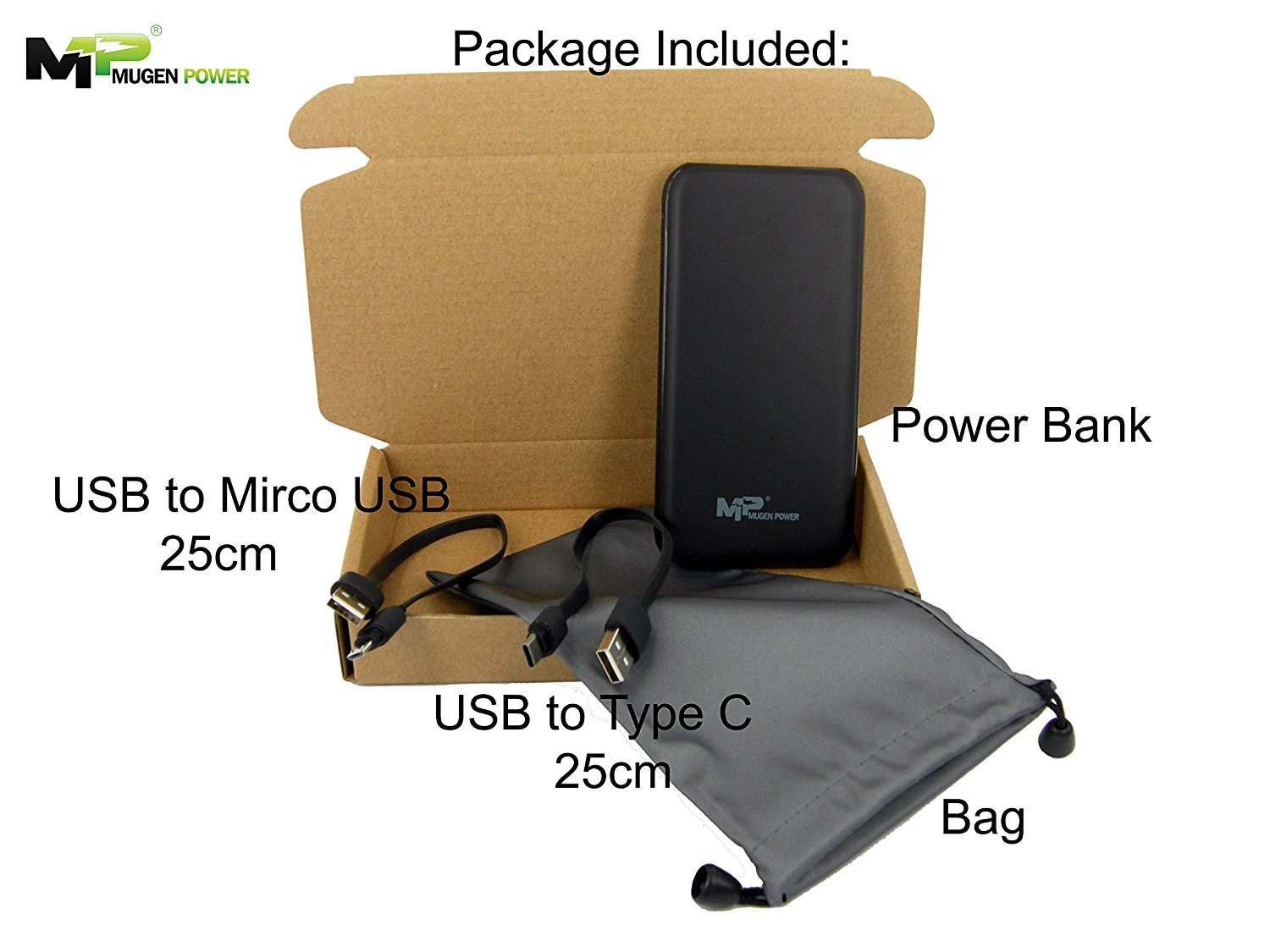 Mugen Power-Quick Charge 2.0-10000mAh 37Wh Safety Polymer Li-Ion Battery Portable Charger. (All-In-One Solution)(Black) for Samsung, Android, iPhone, SmartPhone, iPads, iPods & Tablets