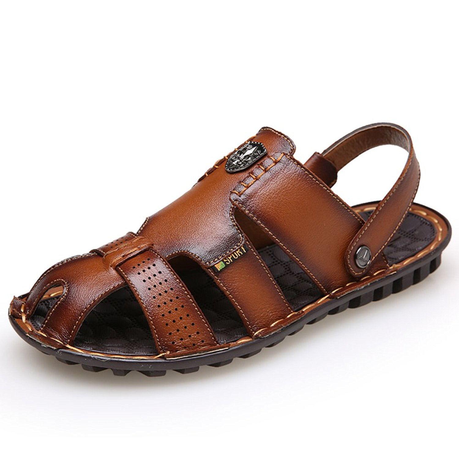 ASO-SLING Mens Synthesis Leather Open Toe Fisherman Sandals Shoes Beach Strap Non-slip