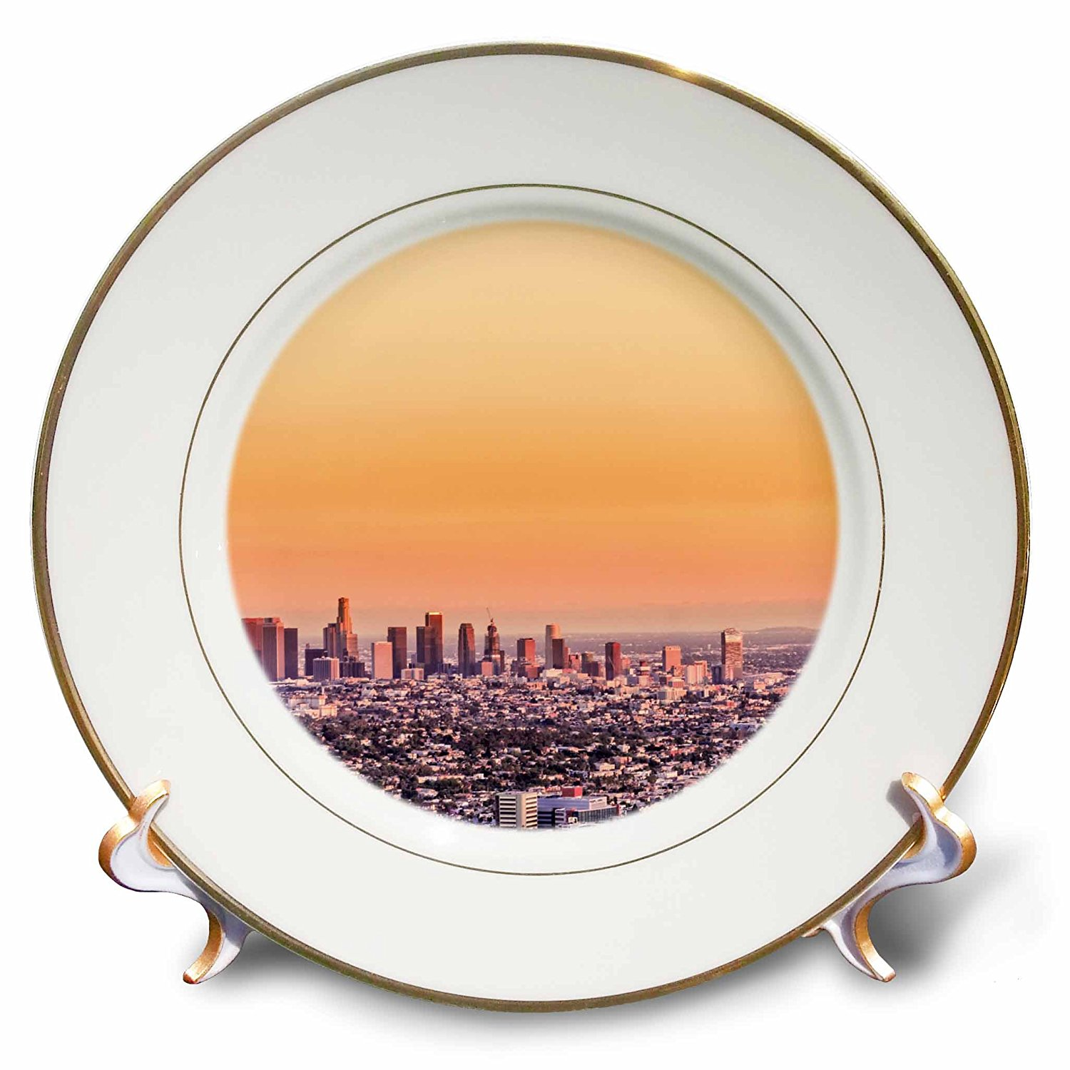 "3dRose Los Angeles Sunset-Porcelain Plate, 8"" (cp_223429_1)"