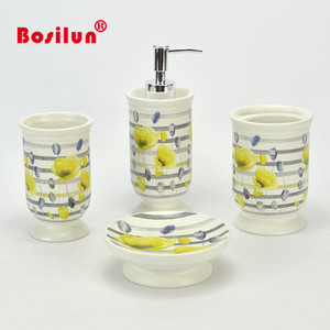 New custom design primrose decal yellow flower ceramic bathroom accessories