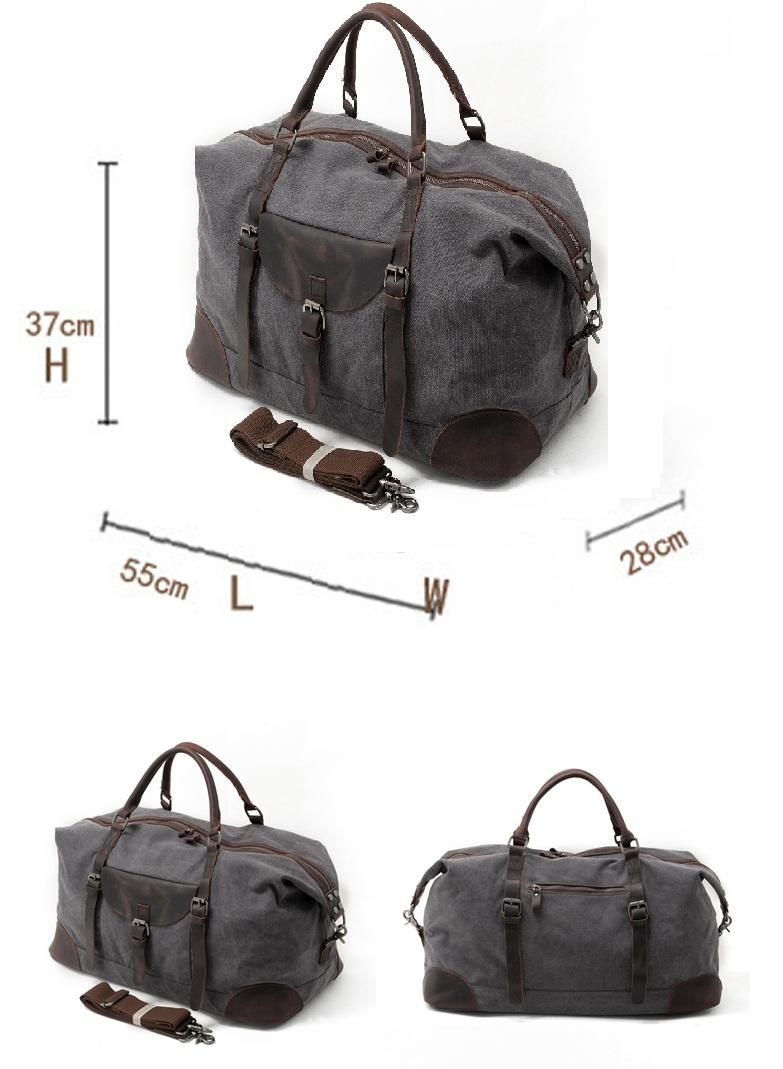 2018 latest design vintage large capacity canvas leather traveling luggage duffle weekender overnight men bag holdall