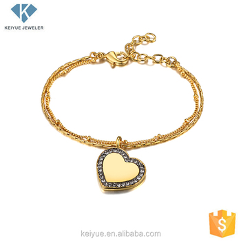 846d0e88e New tanishq design gold plated heart charm hand chains bracelet jewelry  designs for girls