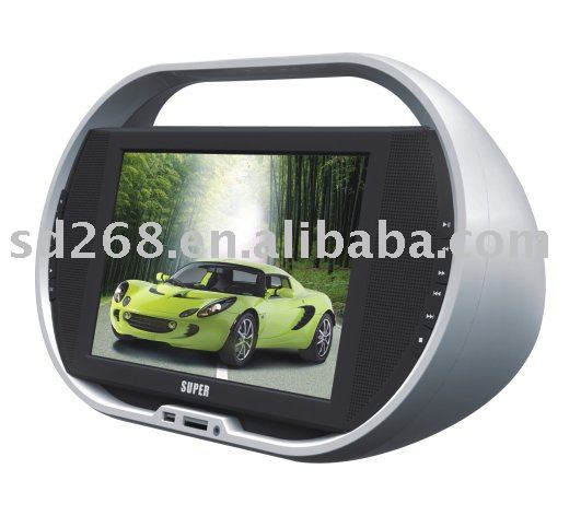 "11.5"" portable dvd player with screen ,fm ,mp3,mp4 ,tv ,game ,card reader"