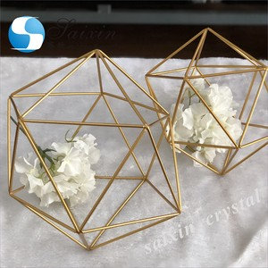 Gorgeous home decor metal gold geometric centerpieces for wedding decorations