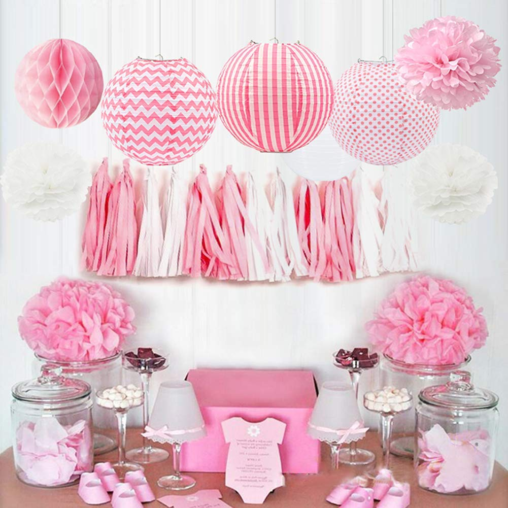 HappyField Baby Girl Baby Shower Decorations Girl Birthday Party Decorations Tissue Pom Poms Paper Lanterns Tissue Paper Tassel Tissue Honeycomb Balls Baby Pink Party Supplies