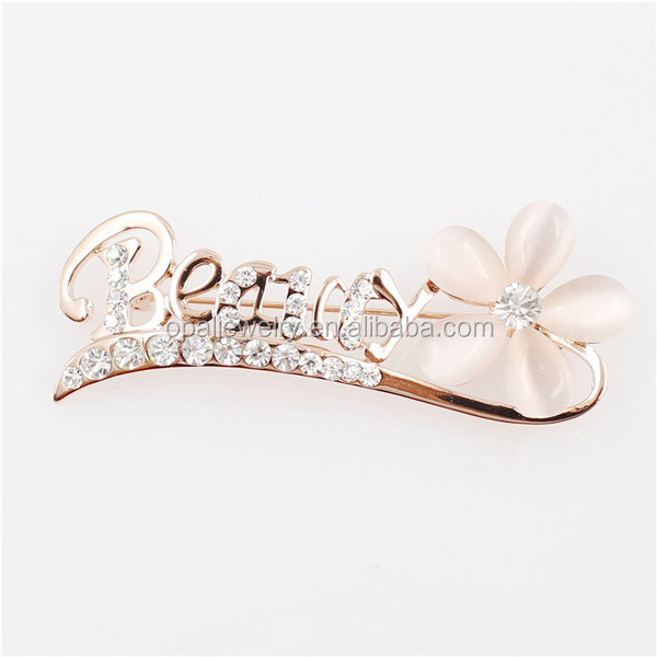 Occident Fashion Flower Shaped Dangle Rose Gold Plated Wedding Brooch
