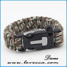 Parachute cord bracelet survival rope bracelet with camo paracord and fire starter buckle