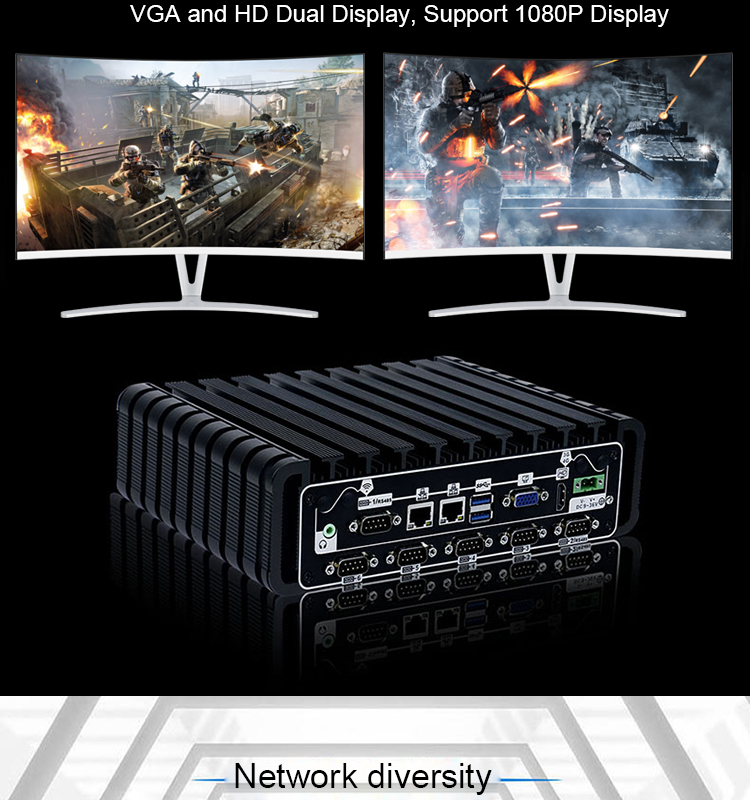 산업 Mini PC Intel I5 Dual Core 4 기가바이트 RAM 2 LAN Port 팬리스 Mini 게이밍 PC support VGA HD dual Display