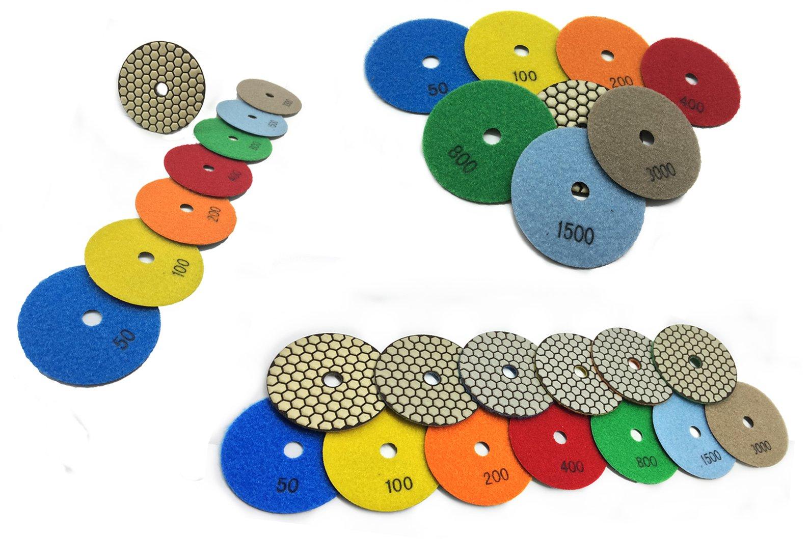 "4 Inch 4"" Diamond Premium DRY Polishing Pad 9 Pieces for Granite Marble Concrete Travertine Quartz Engineer Stone"