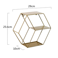 Ins Popular Metal Wall Hanging Rack Decoration Multifunctional Display Wall Mounted Storage Shelf With Floating Hexagon Metal