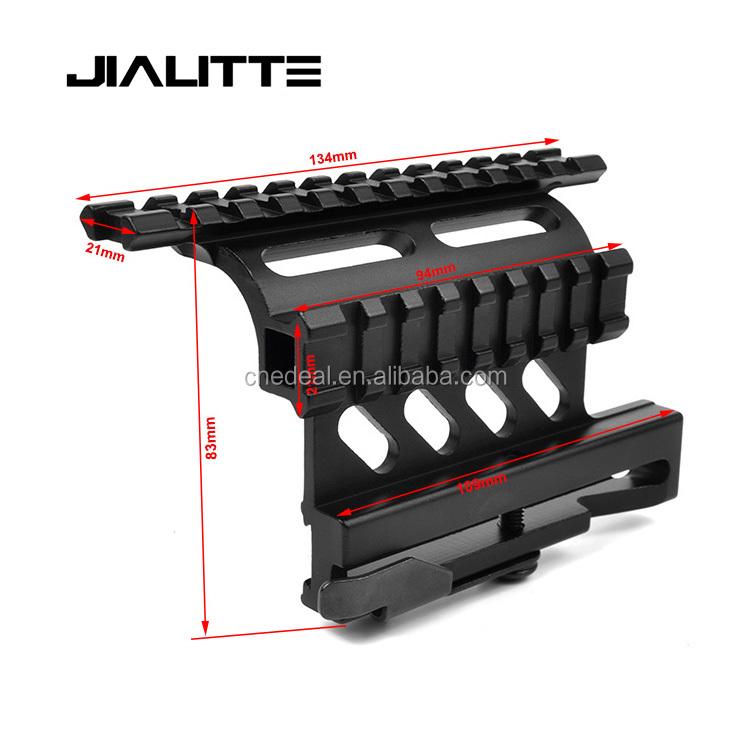 Jialitte J255 AK 47 Accessories Heady Duty Tactical Picatinny Weaver Top Rail Side Scope Mount, Black finish