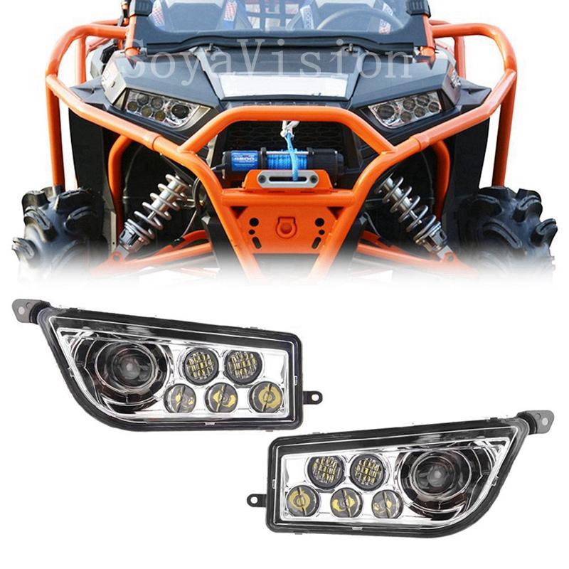 Pair LED Car Headlights for Polaris RZR 1000//900 Series ATV UTV DRL Halo Orange