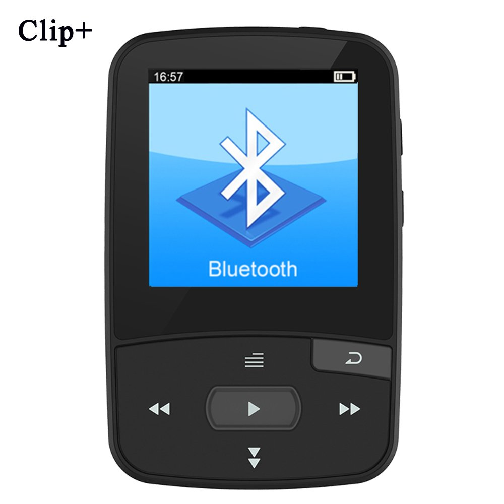 HONGYU RX50 8GB Clip Sport Bluetooth MP3 Player for Running with Clip+ MP3 FM Radio Record Lossless Sound Portable Music Player (Support up to 64GB- Black)