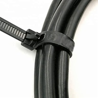 "Black 8"" Releasable & Reusable Standard Duty Nylon Cable Zip Ties"