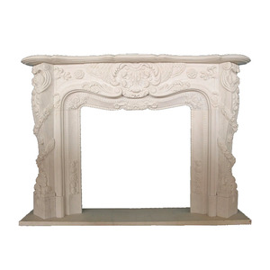 Freestanding Indoor decorative cast stone white marble fireplace