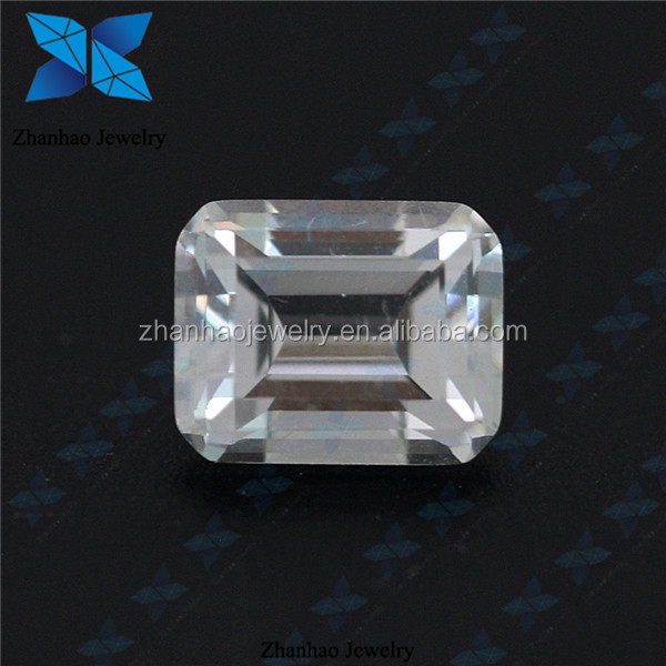 cubic zirconia loose gems synthetic white emerald step cut cz stone