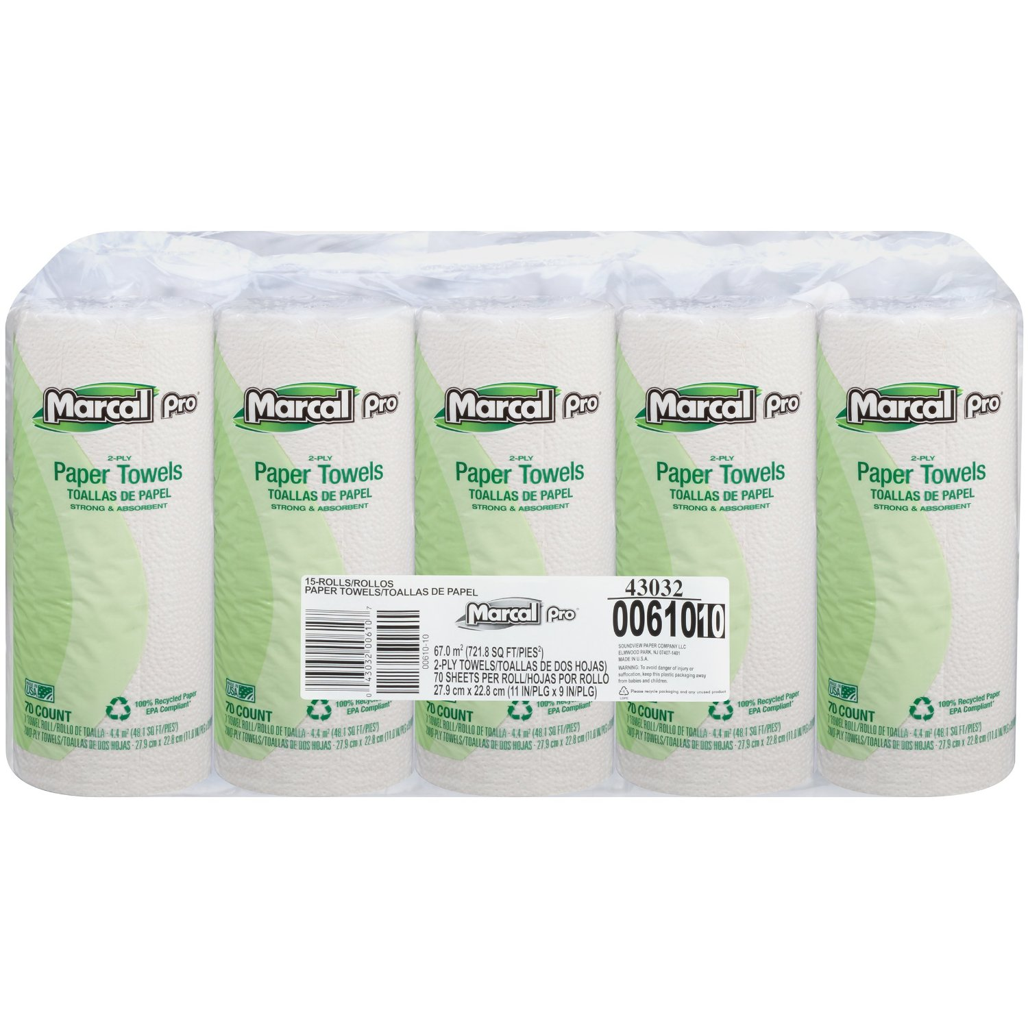 Marcal Pro #00610 100% Recycled Paper Towel, 2-Ply, White, 70 sheets per roll, 15 Individually Wrapped rolls per bundle