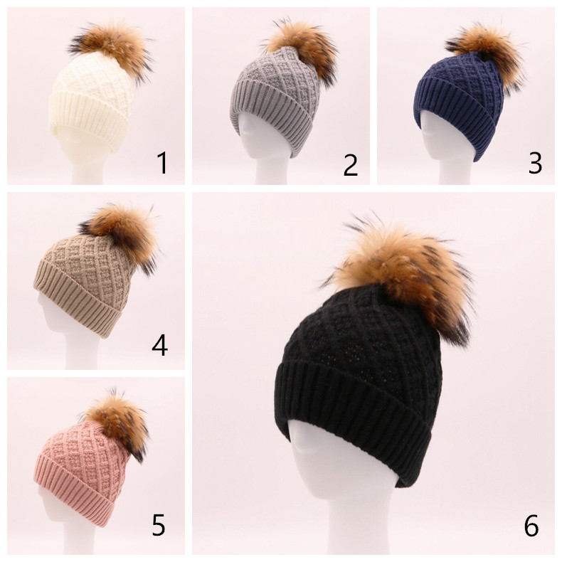 Custom women raccoon fur pom pom beanie hats wholesale