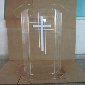 Clear Acrylic Podium Pulpit Lectern With Cross