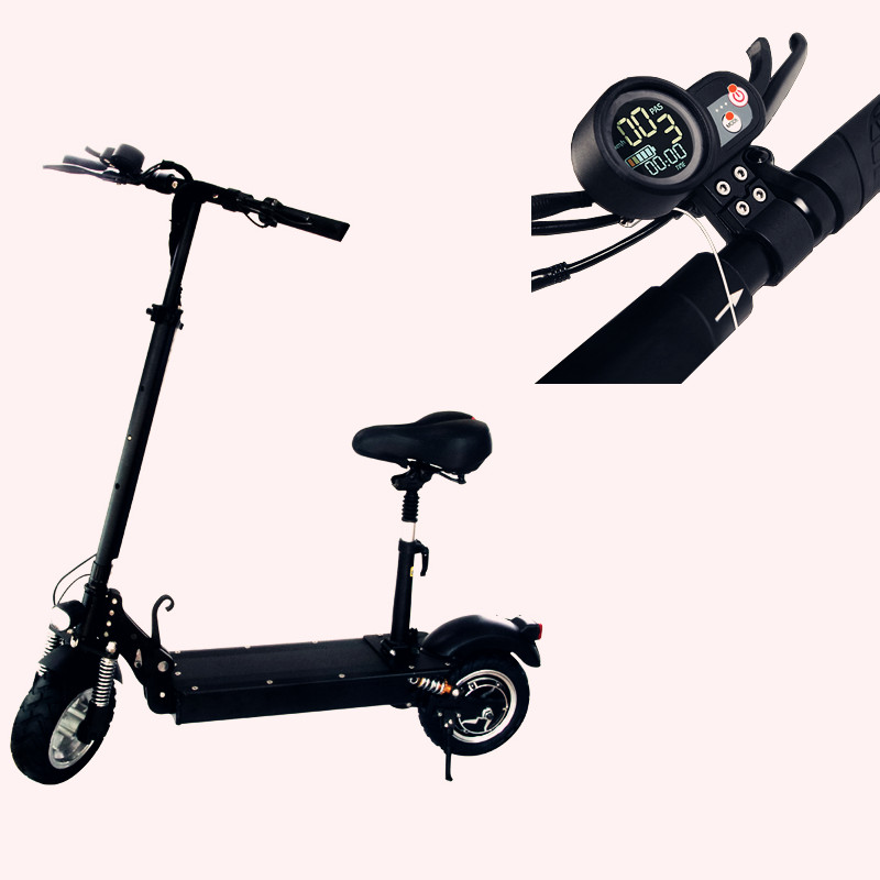 manufacturer big tire Electric Scooter with seat motor 48v 1200w Electric Scooter, Black