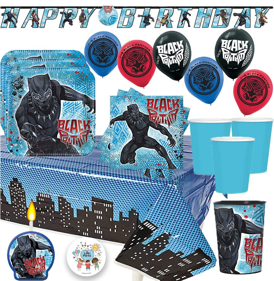 Another Dream's Black Panther MEGA Birthday Party Pack for 16 Guests Includes Plates, Cups, Napkins, Tablecover, Table Decorations, Happy Birthday Banner, 6 Balloons, Party Pin and Birthday Candle!
