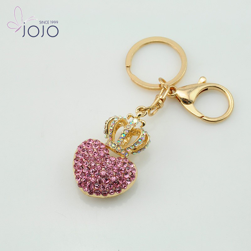 Purse Women Crown Rhinestone Pink clear acrylic photo keychain