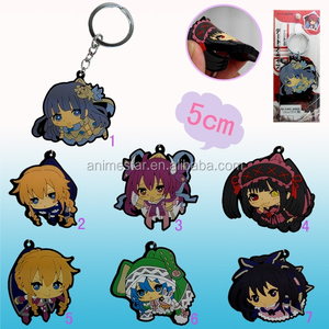 7Designs Japanese Cartoon Date A Live Keyring Cosplay Soft Plastic Hot Anime Keychain 5CM
