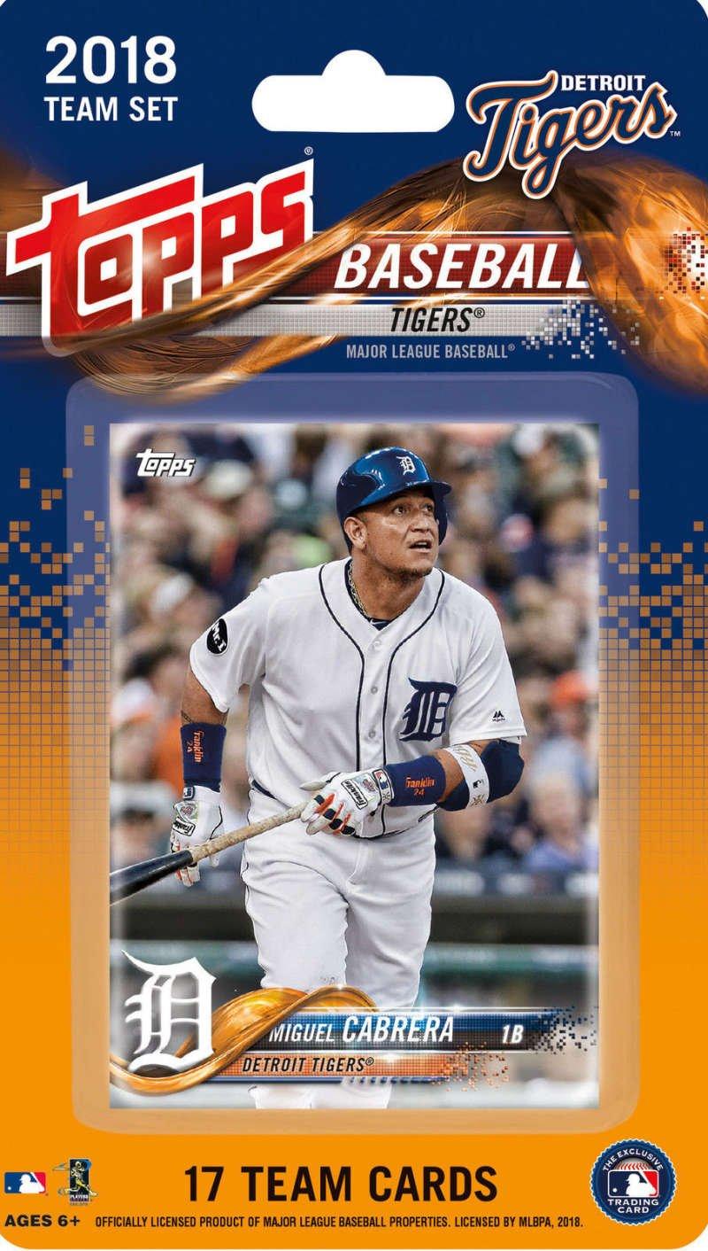 2018 Topps Baseball Factory Detroit Tigers Team Set of 17 Cards which includes: Miguel Cabrera(#DT-1), Jose Iglesias(#DT-2), James McCann(#DT-3), Michael Fulmer(#DT-4), Daniel Norris(#DT-5), Jordan Zimmermann(#DT-6), Buck Farmer(#DT-7), Jeimer Candelario(#DT-8), JaCoby Jones(#DT-9), Victor