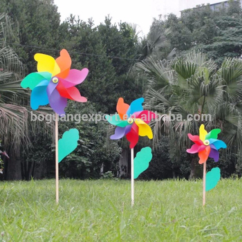 Customized size kids wholesale price colored flower stick wood plastic pinwheel