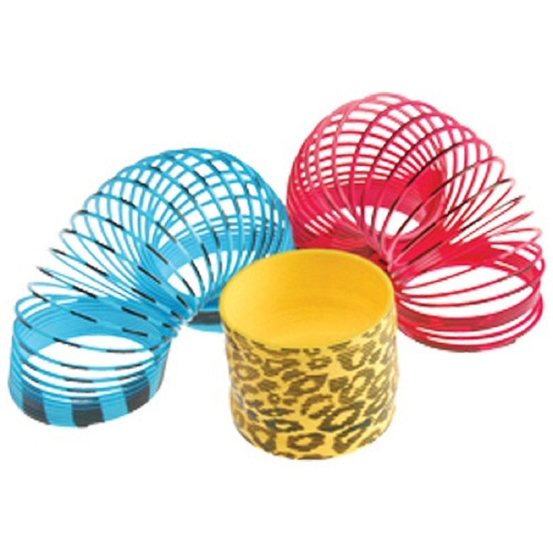 "Dozen Assorted Large (3"") Animal Print Plastic Mini Springs"
