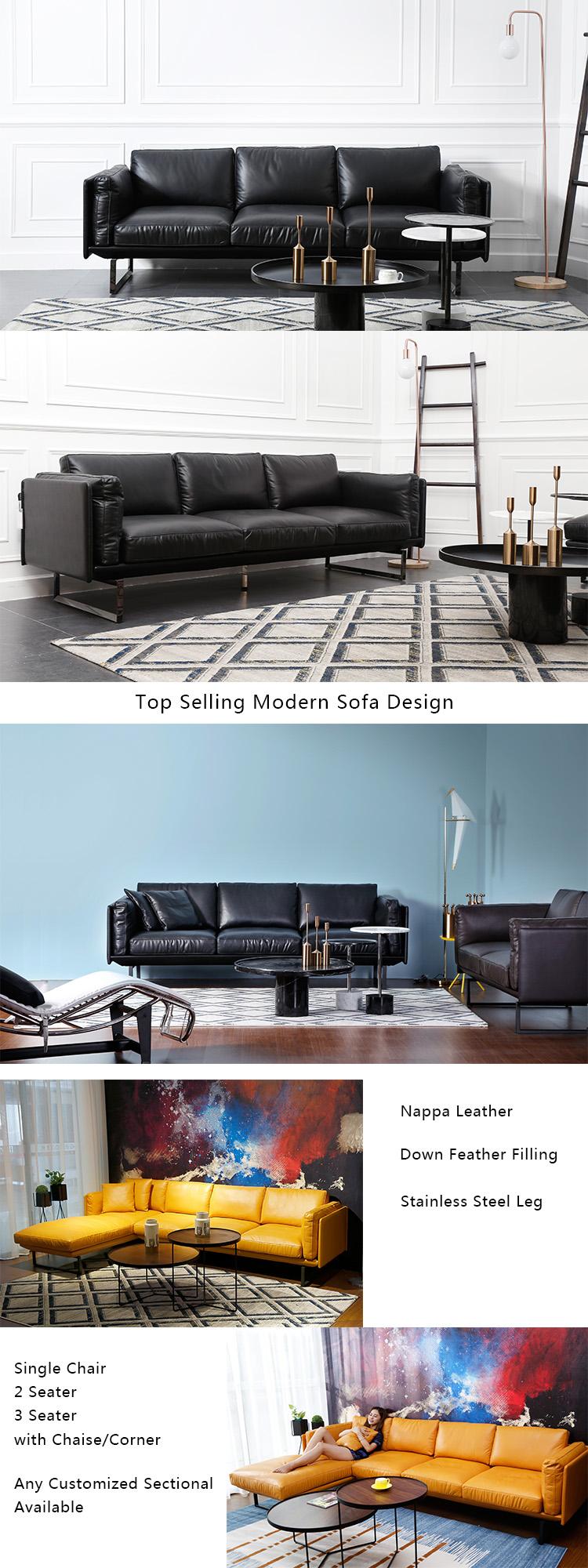 Modern Furniture Sectional Genuine Leather Corner Living Room Sofa ...