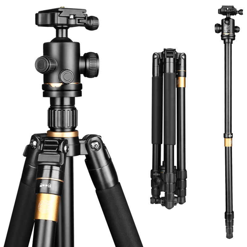 62'' 8KG Load New Aluminum Camera Tripod Monopod Q222 Pro Damping Ball head Photography Tripod for Digital video dslr camera
