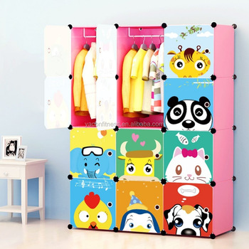 Portable Clothes Closet Wardrobe Cartoon Storage Cube Organizer With Doors For Kids