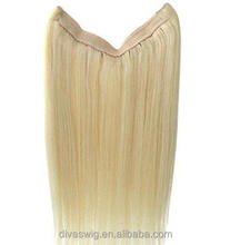 Blonde Flip in Halo hair extensions invisible Miracle Wire hair pieces