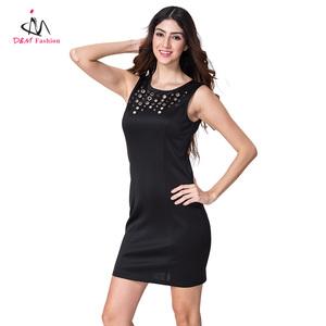 por chaleco de Color con sólido sin calidad negocio bodycon elegante mayor de ropa alta mangas negro al moda lentejuelas mujer vestido Fw1ZYF