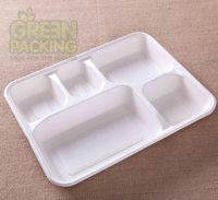 Customized design rectangular disposable waterproof pulp 5 Compartment paper plates