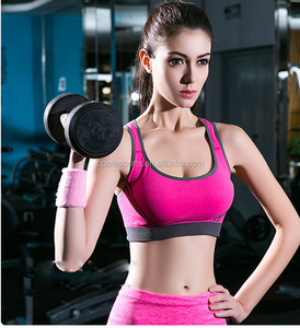 New Gym Womens Sports Push Up Bras Underwear No Rims Fitness Running Shockproof Seamless Bra