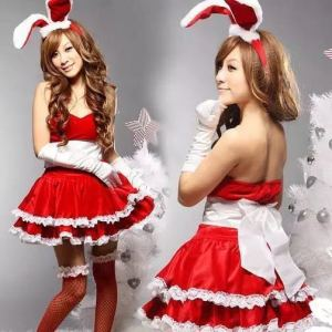 Cheap high quality red sexy beauty girl christmas costume lingerie