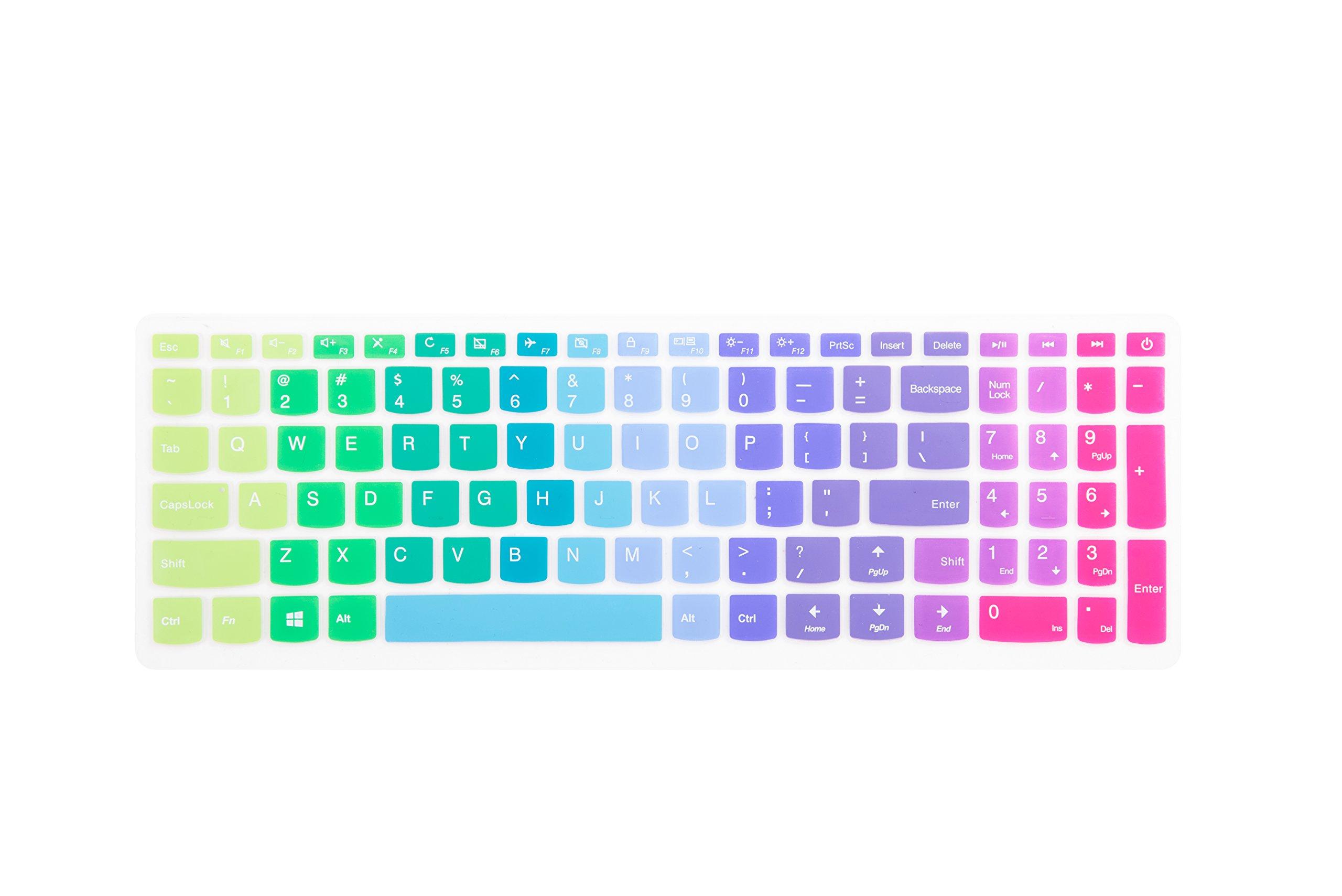 "Leze - Ultra Thin Silicone Keyboard Cover Skin Protector for Lenovo ideaPad 510 15.6"",ideapad 110 15.6"" 17.3"",ideapad 310 15.6"", Flex 4 15"" Laptop - Rainbow"