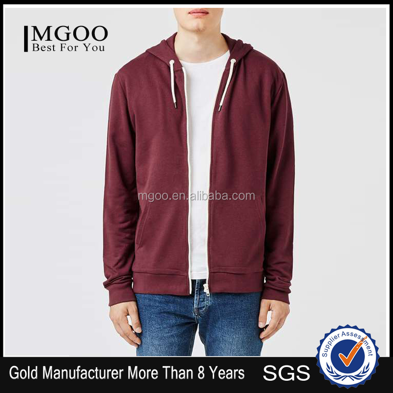 Best Sale Burgundy Zip Through Hoodies Plain Machine Washiable Hoodies Custom White Zip Hoodies