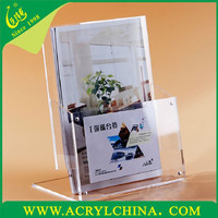 2015 L style clear brochure display racks/PMMA document holder
