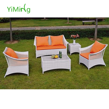White Patio Garden Furniture Synthetic Rattan Sofa Set