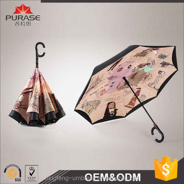 Factory manufacturer custom size high quality double layer reverse umbrella with C handle
