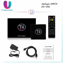 Umelody Update amlogic s905x quad core 4k ott tv box T6 android 7.1 tv box arabic tv box no monthly fee