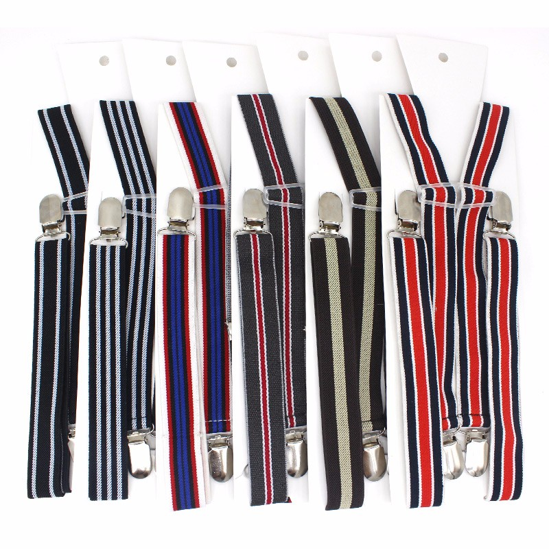 25HS4J01BSL New mens women striped clip-on suspenders Elastic adjustable fashion braces