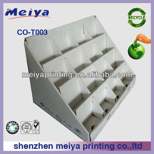 Meiya CUSTOM Handmade Sticker corrugated counter top display stand/rack cardboard display box for Alphabet Sticker promotion