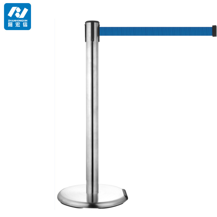 Mirror Steel Queue Line Control Barrier Stand with Wheel