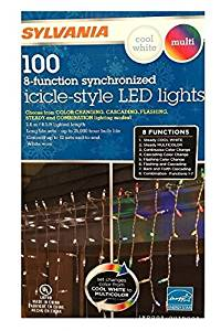 Sylvania Christmas Lights 100 Icicle-Style Led Lights 8-Function Color Changing Cool White Multi Color Connectable (2 box (200 count))