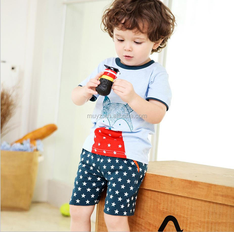 L1525A Cartoon design cotton soft baby clothes set children outfit boys clothing sets